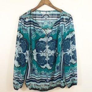 New York & Co blue/green sheer print long sleeve